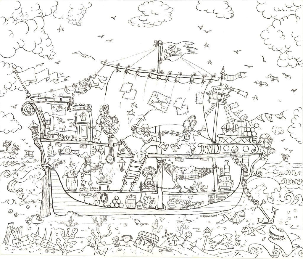 Pirate Ship Colouring Poster Reallygiantposters Com