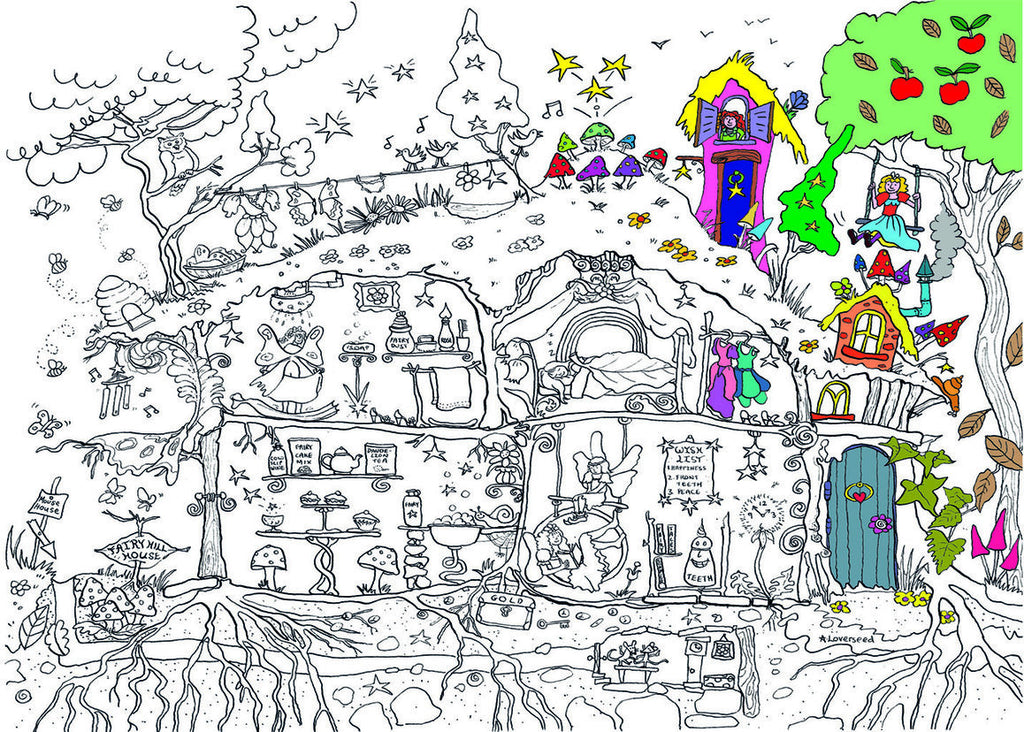 Fairy House Colouring Poster