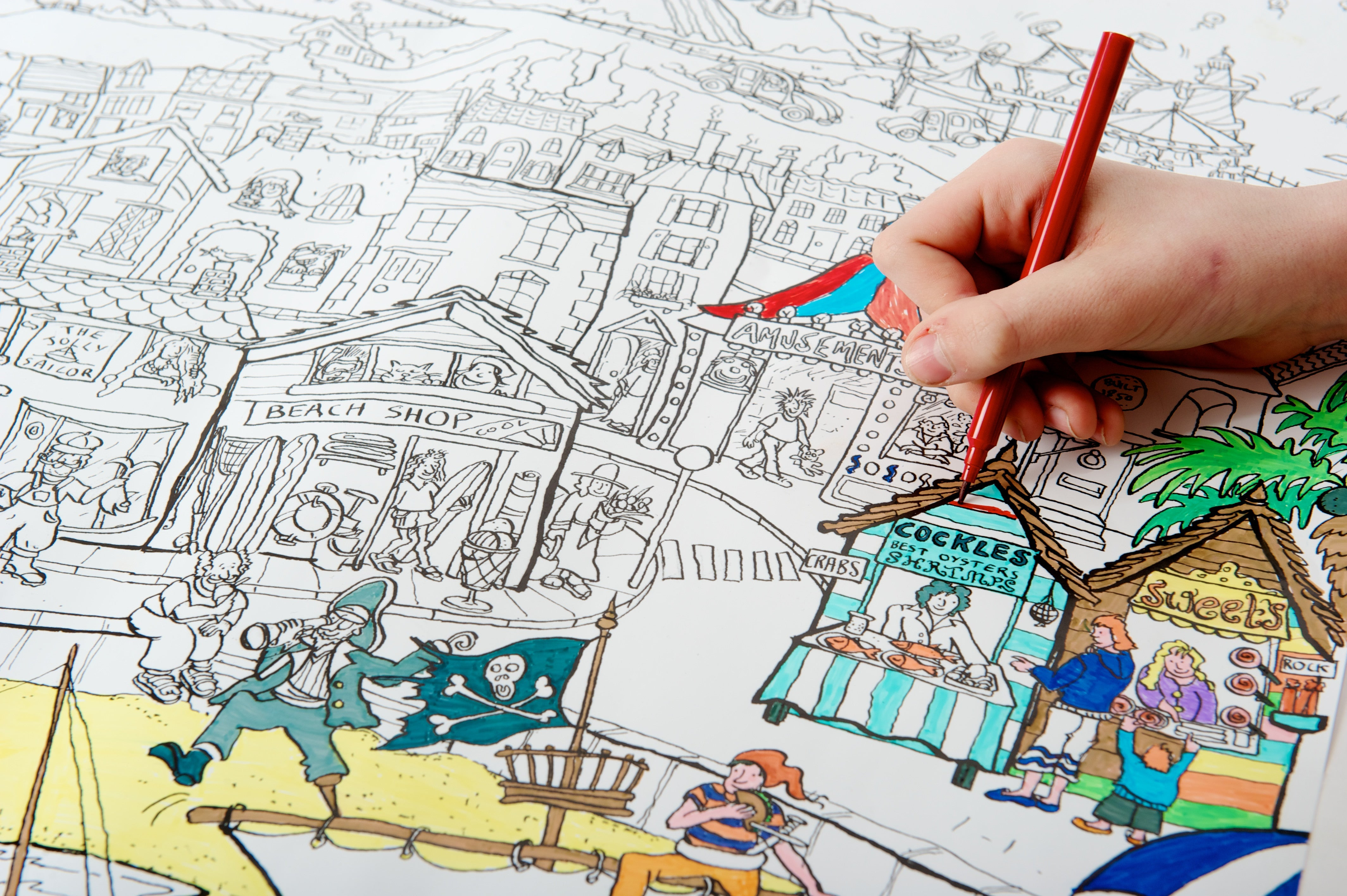 Seaside colouring in poster
