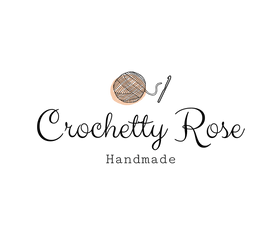 Crochetty Rose's Logo has a ball of yarn and a crochet hook symbols. Also says Handmade under the business name.
