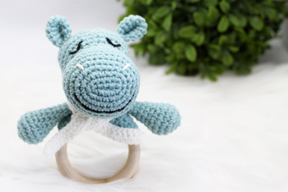 Cotton Baby Rattle - Ring Teether