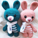 One 7 inch blue bunny and one pink bunny with white scarves.