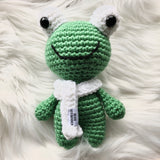 One 7 inch handmade green frog stuffed toy with white scarf,
