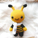 One 7 in bumble bee stuffed stay with white scarf.