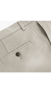 Single Pleated Moleskin Trousers Ivory