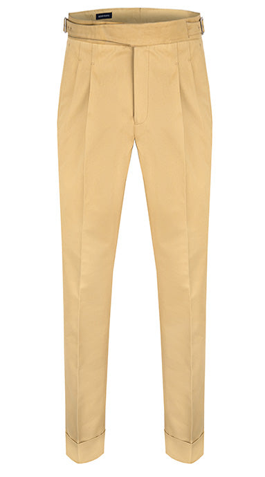 Pleated Cotton Gurkha Trousers Beige