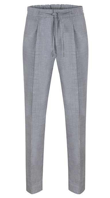 Drawstring Wool Trousers Light Grey