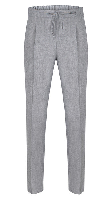 Drawstring Wool Trousers Light Grey Houndstooth