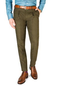 Linen Trousers Cesare Fit Olive