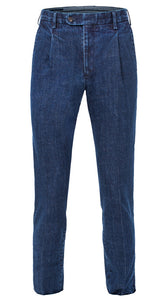 Single Pleated Denim Trousers Blue
