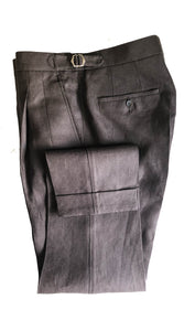 Barnaba II Linen Trousers Dark Brown