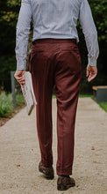 Load image into Gallery viewer, Double Pleated Flannel Trousers Burgundy