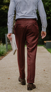 Double Pleated Flannel Trousers Burgundy