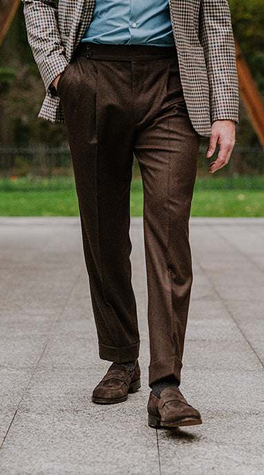 Double Pleated Flannel Trousers Brown