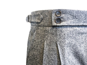 Double Pleated Flannel Trousers Grey