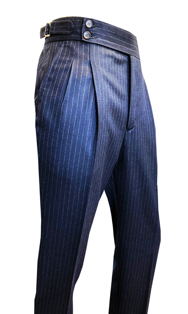 Double Pleated Flannel Trousers Navy Chalk Stripe