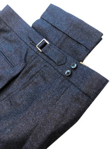Double Pleated Flannel Trousers Navy