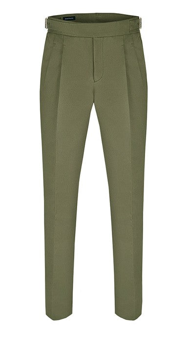Pleated Cotton Gurkha Trousers Olive
