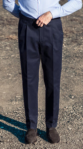 Barnaba II Dark Navy Cotton Trousers