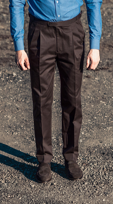 Double Pleated Cotton Trousers Brown