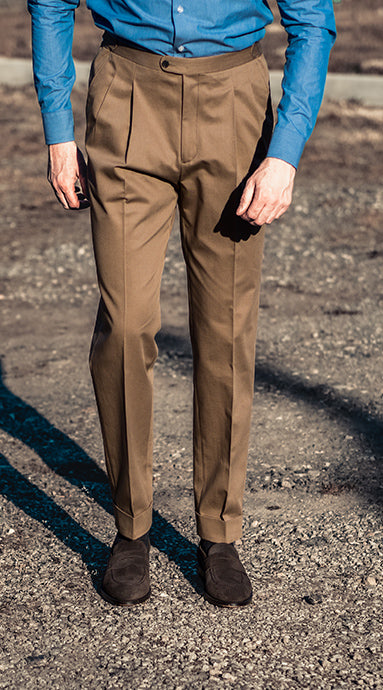 Barnaba II Taupe Cotton Trousers