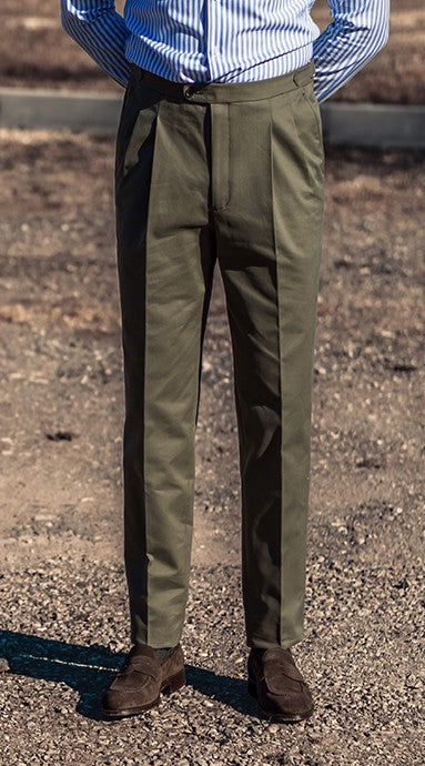 Barnaba II Olive Cotton Trousers