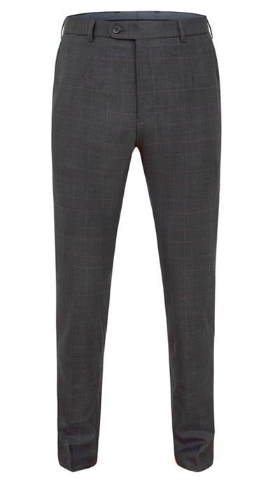 Cesare Fit Wool Trousers Graphite-Brown Overcheck