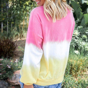 Women's Tie Dye Sweatshirts Gradient Color Casual Long Sleeve Loose Pullover
