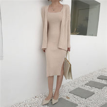 Load image into Gallery viewer, Casual Long Sleeved Cardigan + Suspenders Sweater Vest Dress Two Piece Runway Dress Suit