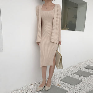 Casual Long Sleeved Cardigan + Suspenders Sweater Vest Dress Two Piece Runway Dress Suit