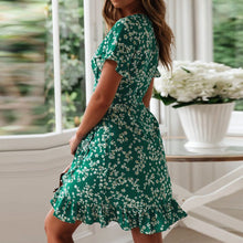Load image into Gallery viewer, Women's Sexy V Neck Floral Print Boho Beach Dress Ruffle Short Sleeve A Line Mini Wrap Sundress