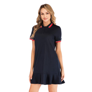Pleated Women Student Sport Dress Shirt Turn Down Collar Polo Short Sleeves Preppy Style Sport Tennis Dresses