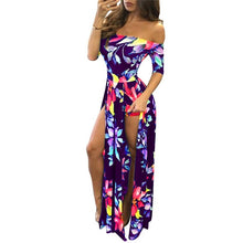 Load image into Gallery viewer, Women Plus Size S-5XL Floral Print Hobo Beach Long Dress Summer Elegant Off Shoulder Half Sleeve High Slit Party Dresses Vestido
