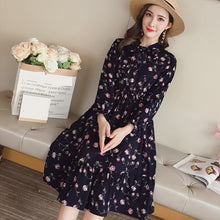 Load image into Gallery viewer, Fashion Bohe Women Chiffon Dress Elegant Casual A-line Knee-length Ladies Sweet Bohemian Print Bow O-neck Long Sleeves Dress