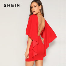 Load image into Gallery viewer, SHEIN Sexy Open Back Cloak Sleeve Summer Mini Dress Women Glamorous Round Neck Slim Fit Solid Night Out Party Dress