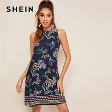 Load image into Gallery viewer, SHEIN Aztec Print Keyhole Back Summer Dress Sleeveless Round Neck Straight Women Dresses Boho Floral Tank Mini Dress