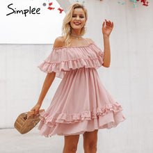 Load image into Gallery viewer, Simplee Elegant ruffle off shoulder women dress Spaghetti strap chiffon summer dresses Casual holiday female pink short sundress