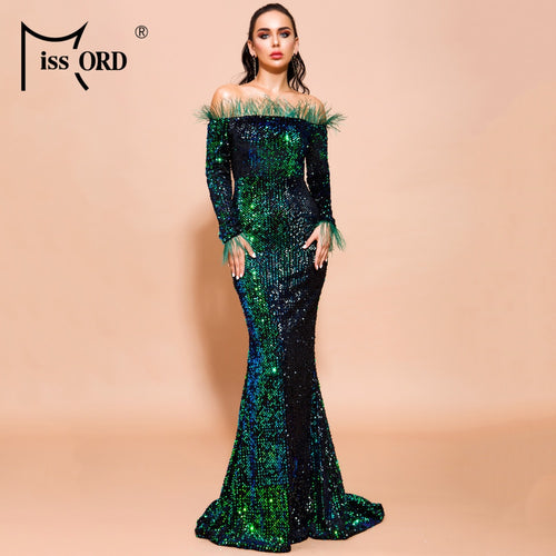Missord 2019 Women Sexy Off Shoulder Feather Long  Sleeve Sequin Floor Length Evening Maxi Reflective Dress FT19005-2
