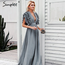 Load image into Gallery viewer, Simplee Elegant v neck long dresses Ruffles high waist women dresses Evening party female sexy maxi dress vestidos festa 2018