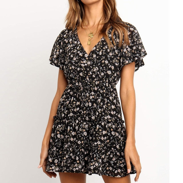 Summer Beach Dress Boho Style Women Floral Print Chiffon Dress 2019 Sexy V-neck Short Sleeve A-line Mini Party Dress Vestidos