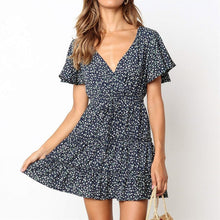 Load image into Gallery viewer, Summer Beach Dress Boho Style Women Floral Print Chiffon Dress 2019 Sexy V-neck Short Sleeve A-line Mini Party Dress Vestidos