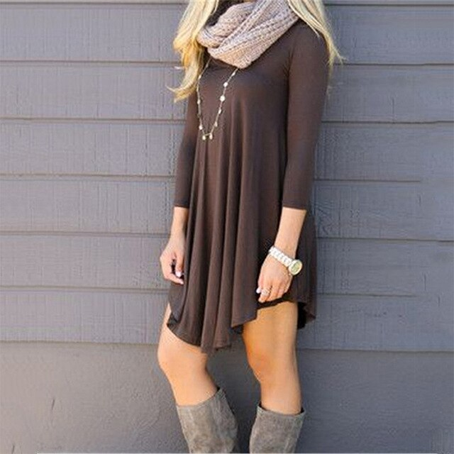 Spring Autumn Casual Loose Knitting Dress Women Solid O-Neck Long Sleeve Asymmetrical Hem Comfortable Dress Plus Size