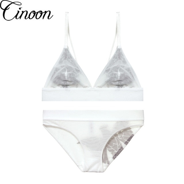 CINOON Bra and Panties Set Embroidery Thin Lace Bra Transparent Ultra-thin Push Up Bra Set