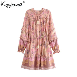 Boho Chic Summer Vintage Floral Print Ruffles Mini Dress Women 2019 Fashion Lace Up Tassel Pockets Beach Dresses Vestidos Mujer