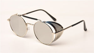 TrendyMate Retro Steampunk Sunglasses Round Designer Steam Punk Metal Shields Sunglasses UV400