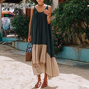 TWOTWINSTYLE Spaghetti Strap Dress Female Backless Patchwork Asymmetrical Long Beach Dresses 2019 Summer Fashion Sexy Clothing
