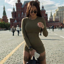 Load image into Gallery viewer, Plus Size Women Clothing 2019 Long Sleeve Mini Bodycon Tunic Slim Party Sexy Clubwear Side Split Tshirt Bandage Dresses M0462