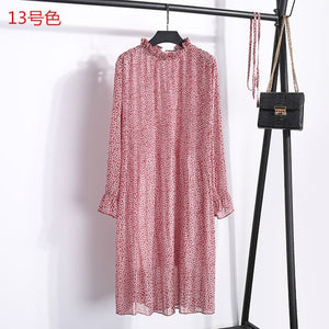 Women Two layers chiffon pleated dress 2019 spring summer female vintage elegant long sleeve loose casual office lady dress