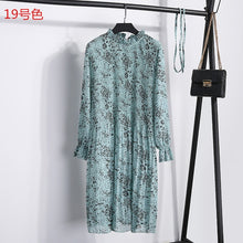 Load image into Gallery viewer, Women Two layers chiffon pleated dress 2019 spring summer female vintage elegant long sleeve loose casual office lady dress