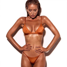 Load image into Gallery viewer, Solid Bikini Push Up Swimwear Brazilian Swimsuit Low Waist Bikini Halter Two Pieces Bathing Suit